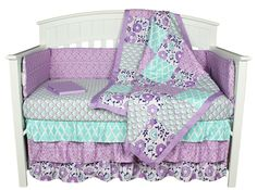 Zoe Floral Lavender/Purple 8-In-1 Crib Bedding Collection