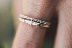 Only for the girl that needs a little more sparkle in her life. ✨ Petite Tapered baguette ring (.24ctw) in yellow gold + our Petite French Pavé stacker (.15ctw). Taking orders today! More info online. See more here: https://www.goodstoneinc.com/stackers/petite-tapered-baguette-stacker