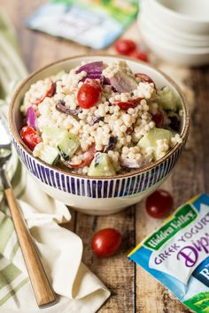 This Greek Couscous Pasta Salad uses Hidden Valley's new Greek Yogurt Dip Mix to add bold ranch flavor to a perfect summer recipe!