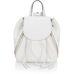 Rebecca Minkoff Bryn Zip-Trim Leather Backpack ($400) ❤ liked on Polyvore featuring bags, backpacks, white, day pack backpack, white leather backpack, leather bags, shoulder strap backpack and drawstring backpack