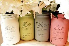 Cute effect - use chalk paint on canning jars then slightly sand the raised print. #vintagechic #vintageweddings