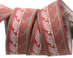 Art Deco Foliage on grey and red- French General