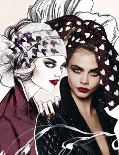 Burberry Prorsum by Soleil Ignacio Illustration.Files: Models & My Girls