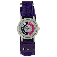 Boxx Girls Time Teacher Analogue Purple & White Dial Easy Fasten Strap Kid Watch for sale online Girls Time, Purple Fabric, Telling Time, Watch Sale, Gifts For Her, Blue And White, Teacher, Best Deals, Kids