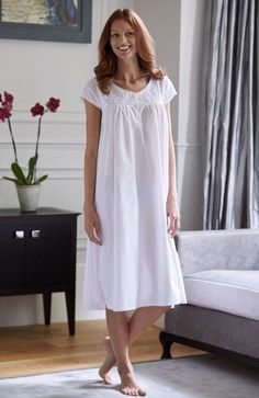 ea8c22a456 Marie Short Sleeve Nightdress. In delicate cotton lawn with inset lace  detail