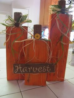 Wooden Pumpkins :) I will have to try and let the boys do the painting. They would love it