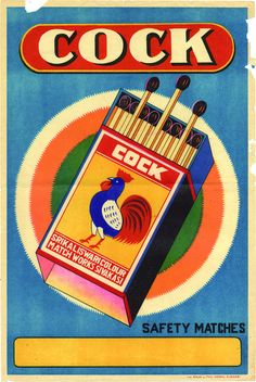 cock safety matches label design.