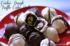 Cake balls cuddling a sweet little taste of cookie dough!