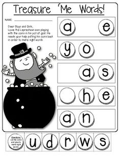 (sample page) ST. PATRICK'S DAY Learning Fun!! (Sight Words, Word Families, team building and more.) $
