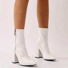 Renzo Sock Fit Ankle Boots in White - Bottes Pointed Ankle Boots, White Ankle Boots, Mid Calf Boots, White Gogo Boots, Brown Boots, Top Shoes, Cute Shoes, Me Too Shoes, Boating Outfit