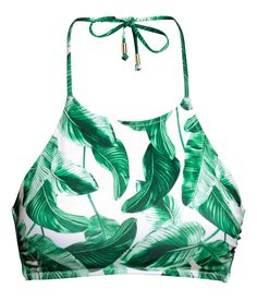 Bikini top with beaded neck ties and an of-the-moment banana leaf print. | H&M Swim