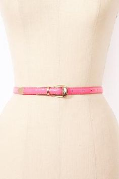Neon Patent Skinny Belt - Pink in  What\'s New at Nasty Gal