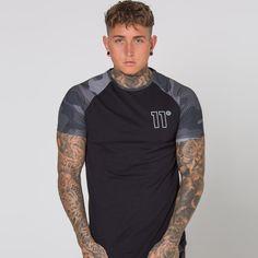 Grey Camo Short Sleeve T-Shirt - Black