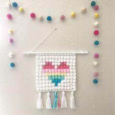 Items similar to Wall Hanging – Crochet – in Pastel Rainbow Colors – Boho Decor – Girl Nursery Decor – Shower gift idea – Small fiber art on Etsy – Gift Ideas Crochet Wall Art, Crochet Wall Hangings, Crochet Home, Crochet Gifts, Cute Crochet, Baby Dekor, Nursery Decor, Girl Nursery, Crochet Decoration
