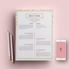 Reprendre le pack page modèle 3 | Modèle de CV + lettre de motivation pour MS Word | Téléchargement immédiat | Styliste de mode