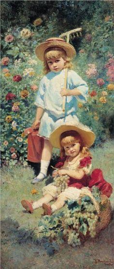 Portrait of Artist's Children - Konstantin Makovsky, 1882