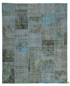 K0026895 Light Blue Over-dyed Turkish Patchwork Rug | Kilim Rugs, Overdyed Vintage Rugs, Hand-made Turkish Rugs, Patchwork Carpets by Kilim.com