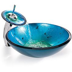 Kraus Irruption Blue Glass Vessel Sink with Waterfall Faucet