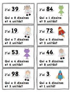 "Qui A?"" Valeur de Position (L'Espace) ""I Have."" Place Value (Space Themed) French and English Available! À faire! Maths Guidés, Primary Maths, Teaching Math, Math Math, Math Place Value, Place Values, E Learning, Math College, Framed Words"