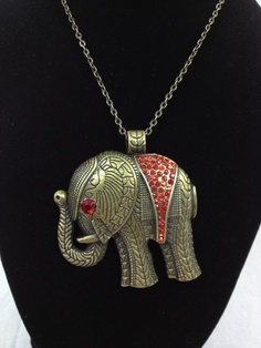 Antiqued bronze and red rhinestone Elephant by MAsMadHouse on Etsy, $17.00