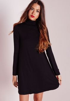 """Calling all taller ballers. Shop our Missguided Tall range, for babes 5""""7 and over.  Cause a little chaos this season in this chic black swing dress. With luxe long sleeves and totally on point roll neck feature this dress will give you a..."""