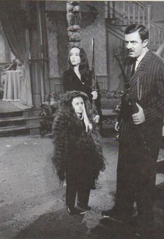 Felix Silla unmasks as Itt in a candid publcity shot with Addams Family co-star Jackie Coogan as Uncle Fester