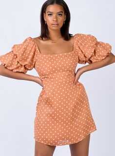 dress for philanthropy round of sorority recruitment New Outfits, Dress Outfits, Sorority Recruitment Outfits, Polka Dot Print, Pop Fashion, Dresses For Sale, Mini Dresses, Terracotta, New Dress