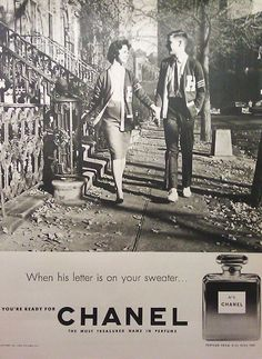 "1959 ad for Chanel No.5 ""WHEN HIS LETTER IS ON YOUR SWEATER"" icon-icon.com"