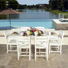 The POLYWOOD La Casa Nautical Dining Set brings the comfort of your dining room to the great outdoors. This outdoor, all weather dining set features six La Casa Cafe Side Chairs surround a Nautical 37 x 72 in dining table. Each piece is made from recycled Outdoor Dining Set, Outdoor Seating, Outdoor Living, Outdoor Decor, Dining Sets, Patio Dining, Polywood Outdoor Furniture, Outdoor Furniture Sets, Deck Furniture