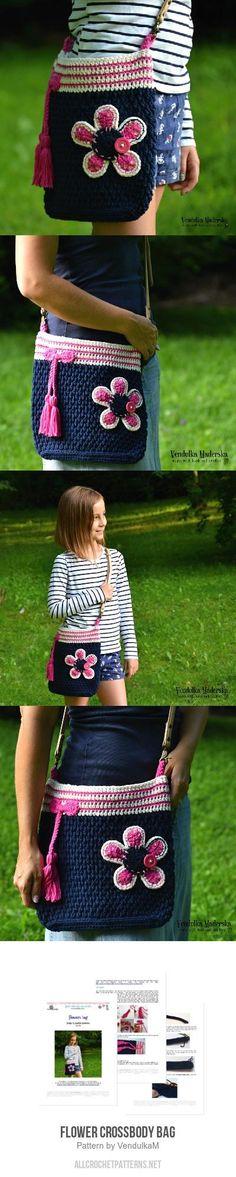 Flower crossbody bag crochet pattern