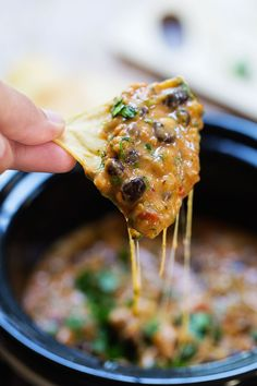 This Homemade Cheesy Chili Dip is made without the processed cheese! Just homemade spicy chili and creamy cheese sauce. 250 calories for 1/2 cup.