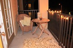 Apartment porch decor with a DIY stick candle!