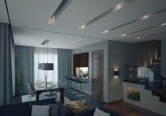 modern living room with white and grey nuance