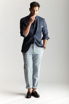 Michael Bastian x Barney's SS12 men style blue jacket sockless summer fashion