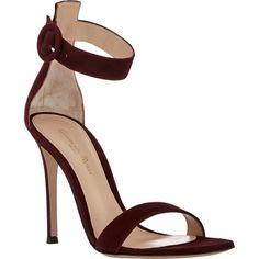 Gianvito Rossi Portofino Ankle-Strap Sandals ($790) ❤ liked on Polyvore featuring shoes, sandals, buckle shoes, buckle sandals, suede sandals, gianvito rossi shoes and leather sole shoes