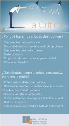 Hay 6 factores psicológicos que potencian un estilo de critica negativo y que perjudican, sobre todo, a la propia persona que realiza la crítica https://www.areahumana.es/critica-constructiva-o-destructiva/?utm_campaign=coschedule&utm_source=pinterest&utm_medium=%C3%81rea%20Humana%20Psicolog%C3%ADa&utm_content=Cr%C3%ADtica%20constructiva%20o%20cr%C3%ADtica%20destructiva.%20T%C3%BA%20eliges%20el%20estilo%20de%20tu%20mirada