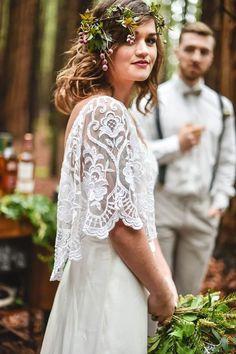 Luxe Rustic Bohemian Chic-unique lace wedding dress