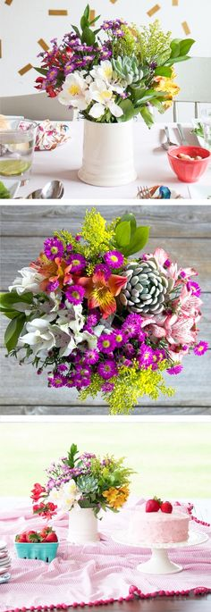 Beautiful flowers from The Bouqs used as a perfect party centerpiece.