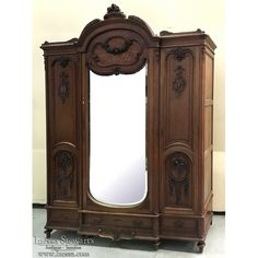 Antique Furniture | Antique Armoires | Formal Armoires | 19th Century French Walnut Louis XVI Neoclassical Armoire | www.inessa.com