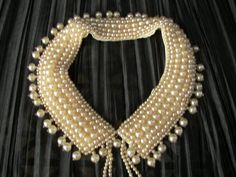 Vintage 1950s Beaded Collar Faux Pearls