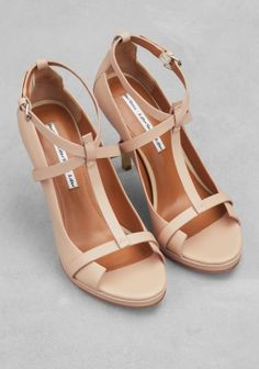 Leather t-strap sandals