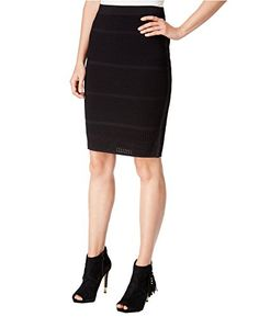 0f9d6da5fb Bar Iii Perforated Pencil Skirt, Only at Macy's - Black XS. Women Spring  Fashion