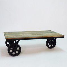 Table basse roulettes metal et bois colore Made In Meubles, Table basse La  Redoute 286e470dce2d