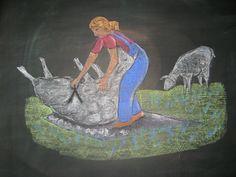 Waldorf ~ 3rd grade ~ Fibers & Clothing ~ Shearing Sheep ~ chalkboard drawing