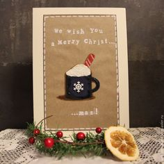 Купить Открытка Горячая Чашка Рождества - комбинированный, Новый Год, рождество, Открытка ручной работы