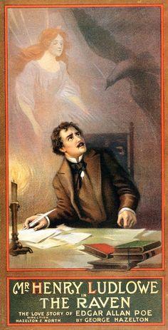 Cartel para la obra teatral El Cuervo, con el actor Henry Ludlowe. La ilustración fue hecha por Morgan Russel, creador, después, del sincromismo.