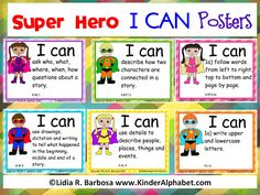 Use like certificts to kids for their achivement! Great way for us parents to keep track of their progress too! Kinder Alphabet: Super Hero I CAN Posters for Common Core Standards Superhero Classroom Decorations, Classroom Themes, Classroom Organization, Classroom Schedule, Google Classroom, Superhero School, Superhero Room, Superhero Party, I Can Statements