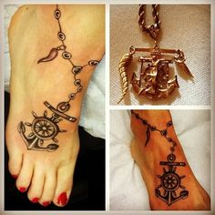I'd like a similar anchor and rope tat on my foot.  With the rope being a cross necklace and birthstone charms around the ankle to represent my hubs and kids with the bible verse Hebrew 6:19.