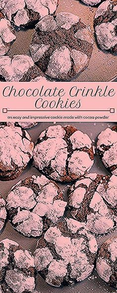 Chocolate Crinkle Cookies have a brownie like texture, are made with cocoa powder and powdered sugar. They look very impressive and are so easy to make! Chocolate Crinkle Cookies have a brownie like texture, are made with cocoa pow Buckeye Brownie Cookies, Cocoa Cookies, Double Chocolate Chip Cookies, Cookie Brownie Bars, Chocolate Crinkles, Cocoa Powder Brownies, Cake Mix Cookie Recipes, Breakfast Biscuits, Chocolate Cakes