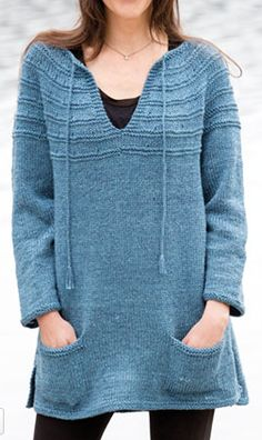 Knitting Pattern for Lena's Top-Down Sweater - Pullover long-sleeved tunic with v-neck, pockets, ties, and purl row detailing. Great for layering or cover-ups. To fit: XS (S, M, L, XL, 2XL) See more pics and get the pattern at Annie's http://www.anrdoezrs.net/links/7729443/type/dlg/sid/12573089/https://www.anniescatalog.com/detail.html?prod_id=136951&cat_id=25   tba